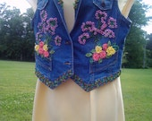 SALE-Blue Denim Jacket Vest Hand embellished Floral 3D Beads Large