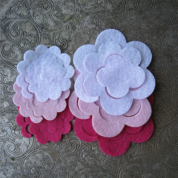 6 Piece Felt Die Cut 3d Roses - Create Your Own diy - Pretty In Pink - Large and Small flowers for headbands, clips, projects, crafts