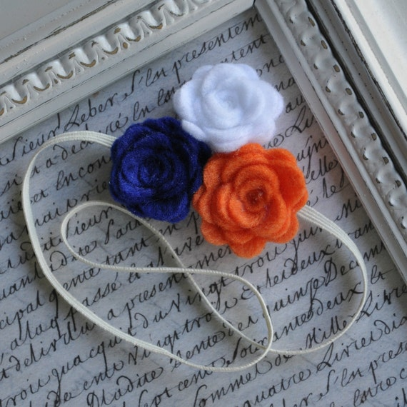 BSU Felt Flower Headband - Skinny Elastic, Roses - Boise State Broncos Blue and Orange and White- Choose your size