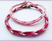 Cute Girly Modified Handmade Friendship Bracelet Couple Bracelets Pink Set of 2