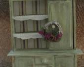 Dollhouse miniature shabby chic hutch (B) in green
