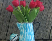 Dollhouse miniature flow blue coffee pot with red tulips