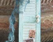 Dollhouse miniature shabby chic turquoise shutter