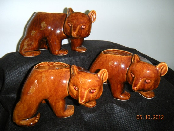 "Vintage Brush McCoy  Three Brown  Bear""s / Planters....  (1941)"