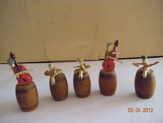 Vintage  Little Barrel People Playing Differant  Musicial