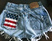 Levis 501 button fly High waist destroyed shorts super frayed with American flag and studs size X Small