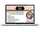 """Semi-Custom """"Glitter & Blush"""" Blog Design Graphics Set"""