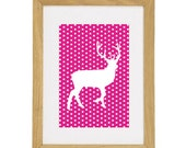 "Polkadot Stag Print - 5"" x 7"" - Fits Ikea Frame - Any colour"