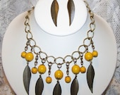 Raindrops - Antique Brass with Yellow Colored Jade Beaded Feathered Necklace and Earring Set