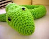 Big Green Crochet Amigurumi Snake, Giant Stuffed Snake