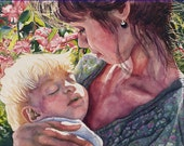 Watercolor Painting of Mother and Sleeping Baby in Rose Garden, Paintings of Babies, Mother and Child, Sleeping Children, Mother and Baby