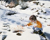 Watercolor Painting of Little Girl Reaching for Flowers in Snow, Winter Paintings, Snow Paintings, Girl with Braids, Child in Galoshes,