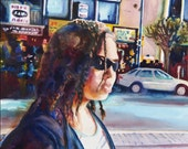 Watercolor of Young Girl in Sunglasses Walking on the San Francisco Wharf, Young Woman with Braids, Fisherman's Wharf, San Francisco Art,