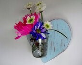 Mason jar heart vase shabby chic cottage chic