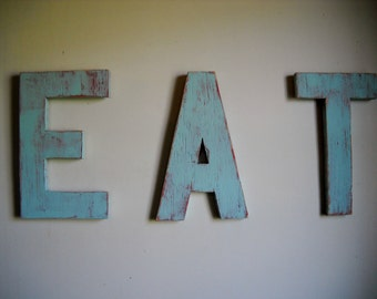 Vintage inspired EAT sign kitsch distressed shabby chic kitchen wood sign custom handmade