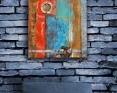 New Series - 'New England No.3' - Abstract Original Painting 12'x12' on Extra Deep Wood Panel, Mixed Media, Acrylic, Tarp, Fatemeh Beier