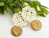Tatted lace earrings, ivory, brown, sterling silver ear wires