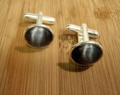 Merced Rimmed Edge Cat's Eye Cuff Links / 1 Pair Black-Gray / Groom / Groomsmen / Best Man Gift Cufflinks