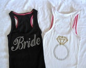 BRIDE Tank Top Shirt with Ring on Back. Black, White, Purple, Yellow, Blue, Pink, Gray. Small, Medium, Large.
