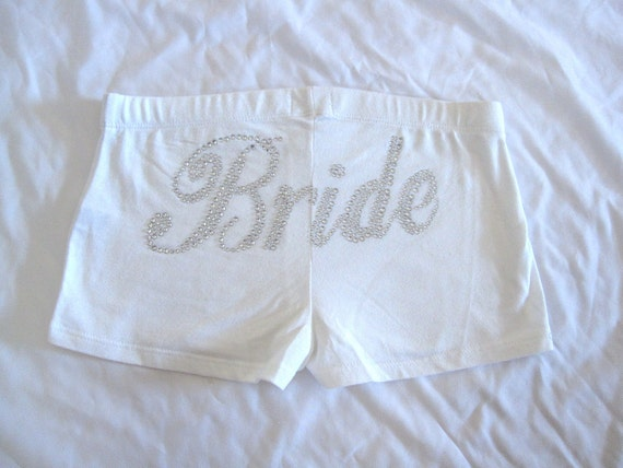 Bride Shorts. Rhinestone White Honeymoon Booty Shorts Panties. Wedding Gift.