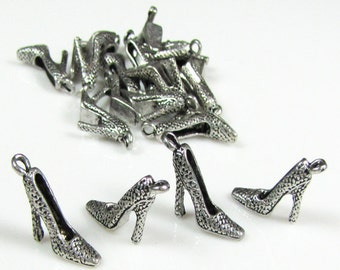 Shoe charm, Tibetan antique silver, nickel free, 8 pieces