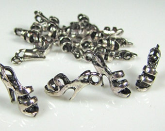 Shoe charm, antique Tibetan silver, lead free, 8 pieces