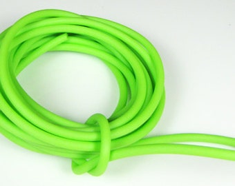 Rubber cord 4mm, solid, bright lime green color, 10 feet