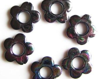 30mm AB flower, black, acrylic bead, 10 pieces