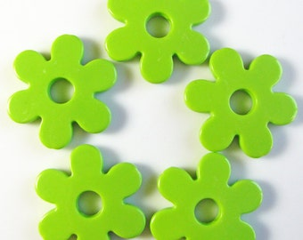 Lime green large mod flowers, acrylic, 3 pieces