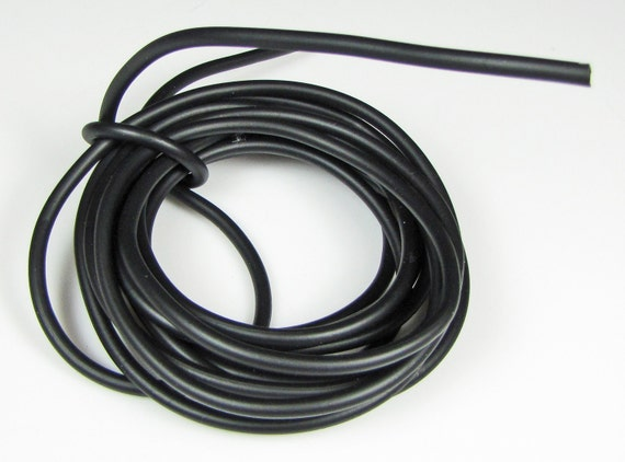 Rubber cord 4mm, hollow tubing, black color, 10 feet