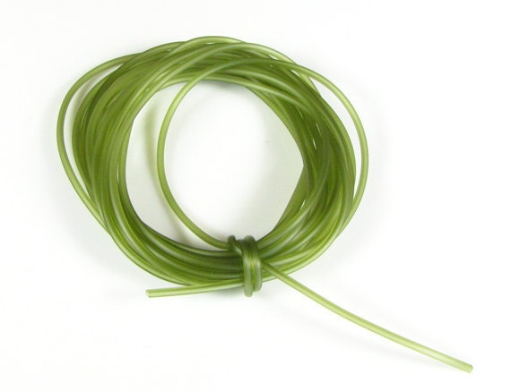 Rubber cord 2mm tubing, luminous olive green color, 10 feet
