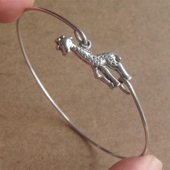 Giraffe Charm Bracelet: Giraffe Bangle Bracelet Simple Everyday Jewelry By Silverglory