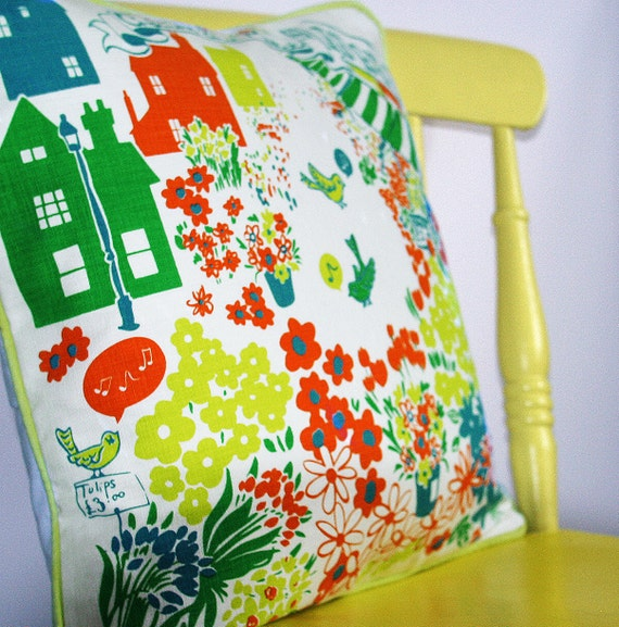 SALE ITEM Cushion, handmade decorative pillow. Columbia Road Flower Market Print.