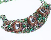 Smoky topaz green beaded event necklace glass beads summer fashion majestic mothers day