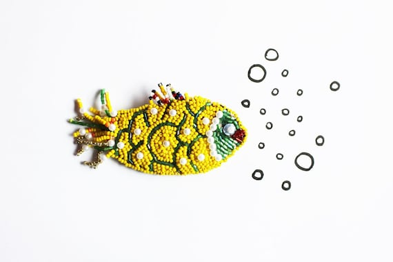 Yellow beaded fish golden fish fairy colourful summer brooch mothers day underwater nautical summer jewelry