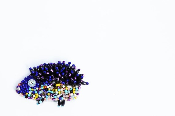 Colourful Beaded funny Hedgehog brooch fairy summer fashion mothers day gift for her colourful kid brooch spring sale