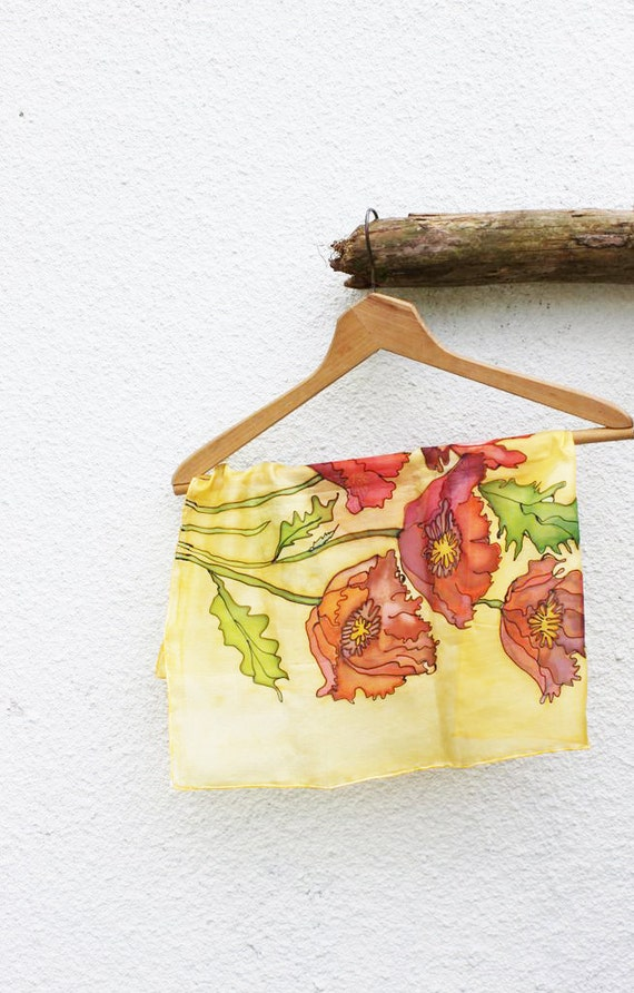 Poppy poppies red yellow flower silk scarf hand painted batik modern for her summer scarf