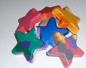Set of 6 large recycled crayons, art supplies, earth tone star shapes, party favors, gifts, children and kids.