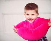Hot Pink Velvet Smooch -Valentine Lips Shaped Decorative Pillow - Small Size