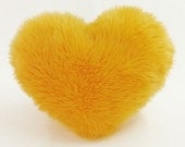 Sunny Yellow Faux Fur Heart Shaped Decorative Pillow - Small Size