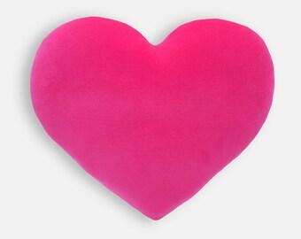 Hot Pink Velvet Heart Shaped Decorative Pillow - Mini Size