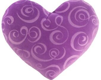 Lavender Swirl Velvet Heart Shaped Decorative Pillow - Small Size