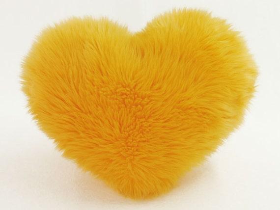 Sunny Yellow Faux Fur Heart Shaped Decorative by SendASmooch