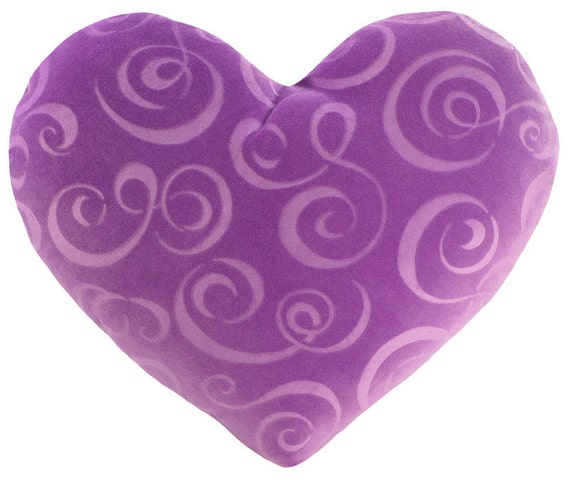 Lavender Swirl Velvet Heart Shaped Decorative Pillow - Small Size