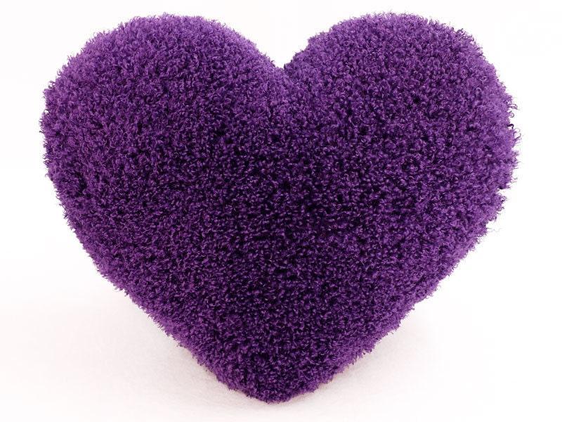 Curly Shag Purple Valentine Heart Shaped Decorative Toss