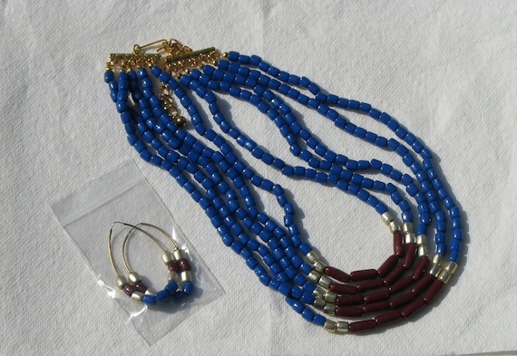 5 strand royal blue, dark red, silvery white beaded necklace with matching wire earrings Deeper Colors for Fall
