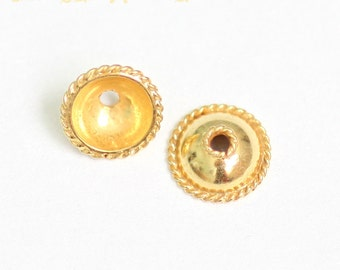 24K Gold Vermeil Bead Caps, Smooth Dome with Rope Edges, 7.3 x 3mm, Choose Quantity,  V-5B