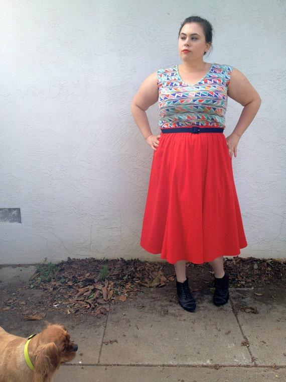 Plus Size - Vintage 6-Gore Circle Skirt (Size 20W)