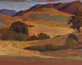 Original pastel painting, landscape painting - plein air, 15x28, South California