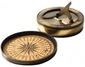 antique compass with sundial